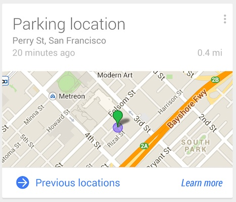 Parking Location with Google Now