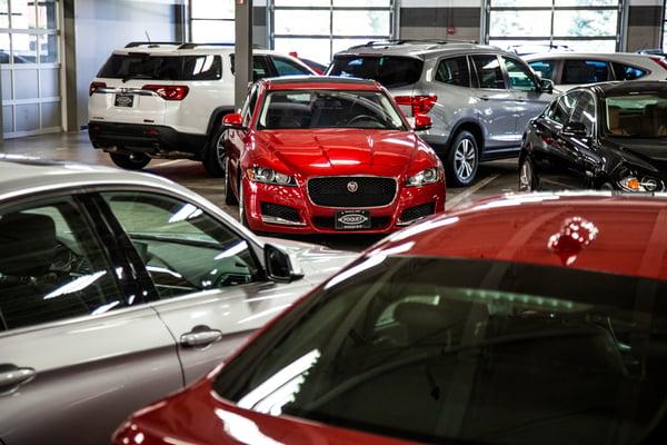 Red-car-in-dealership